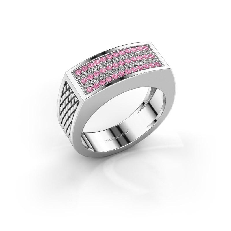 Heren ring Erwin 375 witgoud roze saffier 1.2 mm