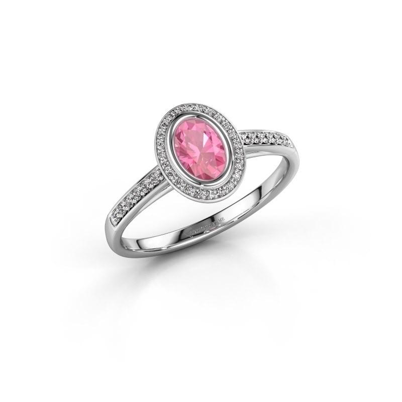 Engagement ring Noud 2 OVL 950 platinum pink sapphire 6x4 mm