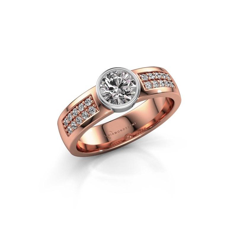 Engagement ring Ise 3 585 rose gold diamond 0.65 crt