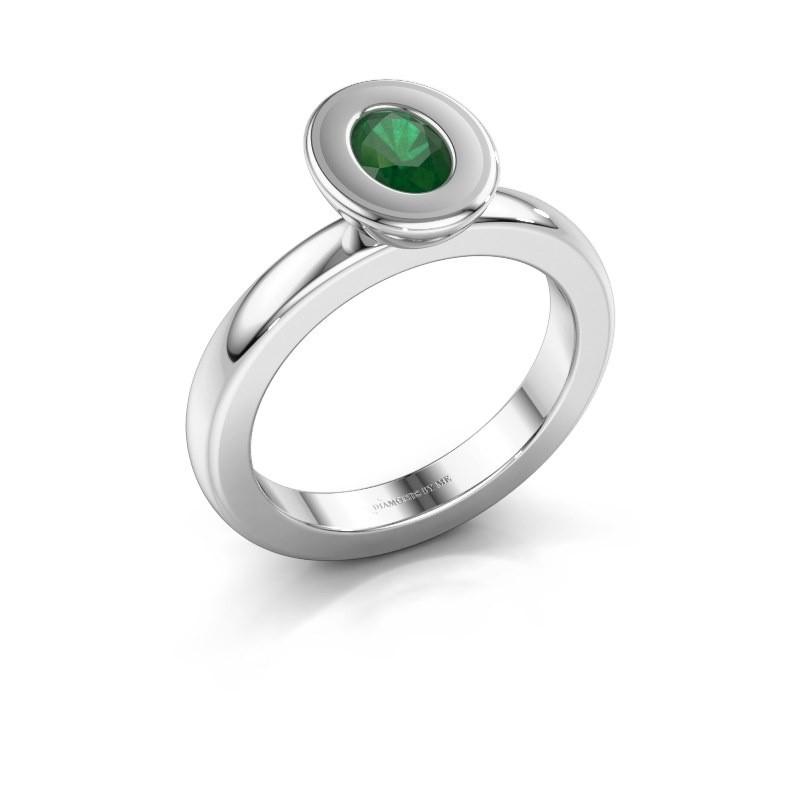 Stapelring Eloise Oval 950 platina smaragd 6x4 mm