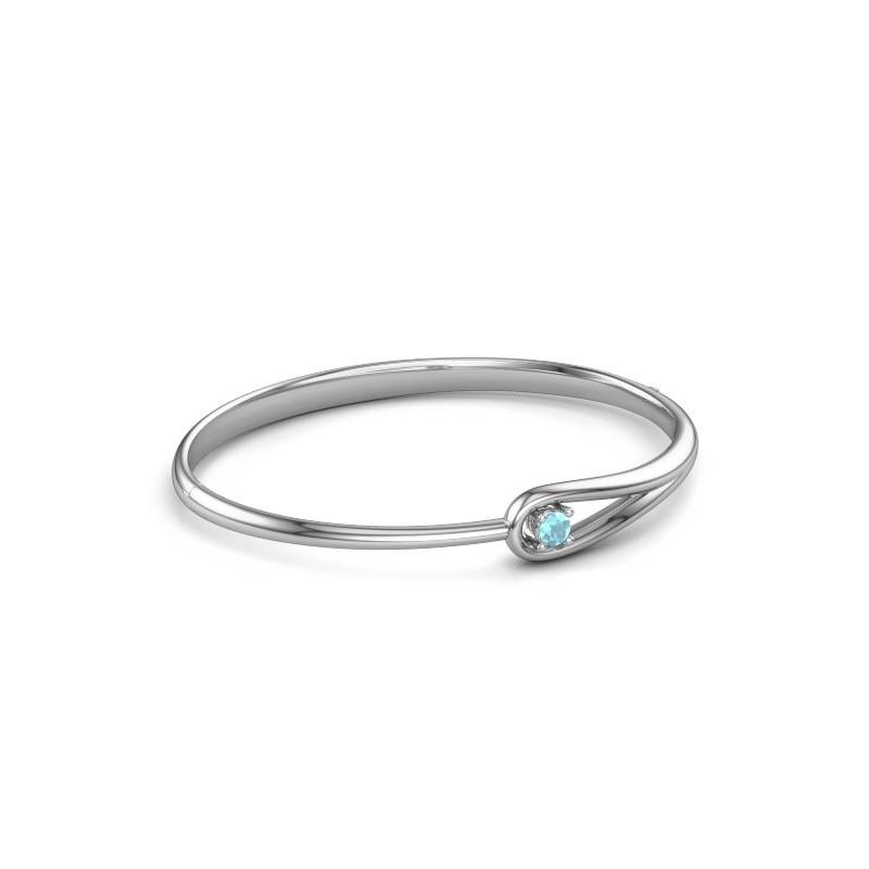 Slavenarmband Zara 585 witgoud blauw topaas 4 mm