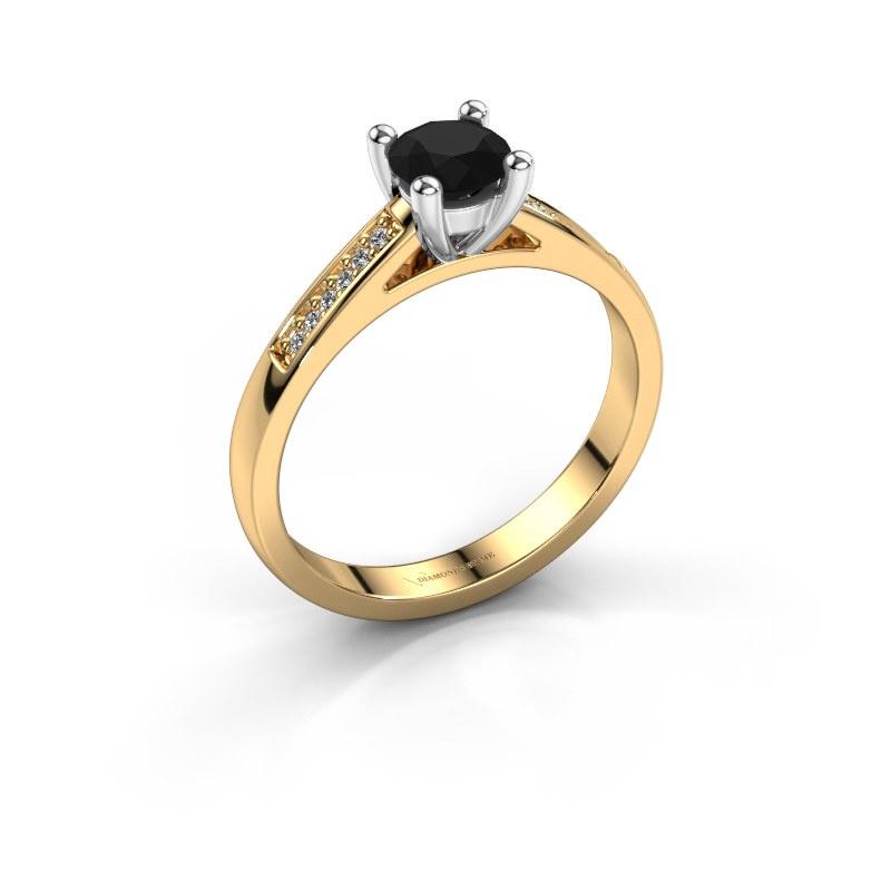 Bague de fiançailles Nynke 585 or jaune diamant noir 0.54 crt