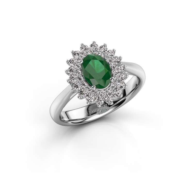 Engagement ring Alina 1 925 silver emerald 7x5 mm