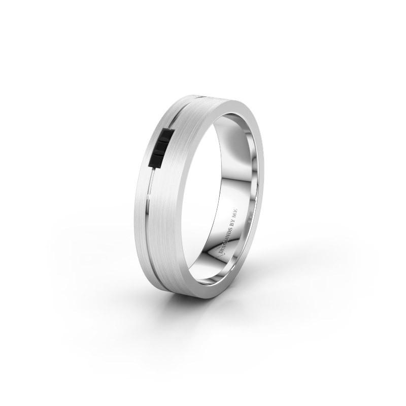 Trouwring WH0158L14X 950 platina zwarte diamant ±4x1.4 mm