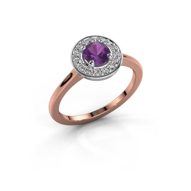 Ring Agaat 1 585 rosé goud amethist 5 mm