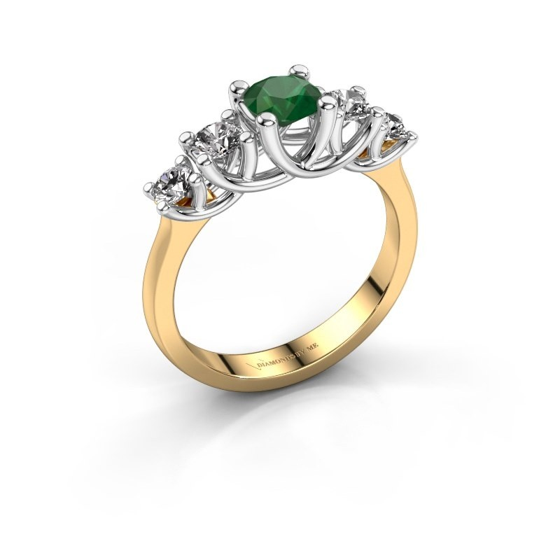 Engagement ring Jet 585 gold emerald 5 mm