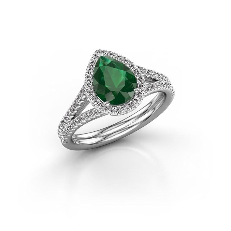 Verlovingsring Elenore 2 585 witgoud smaragd 8x6 mm