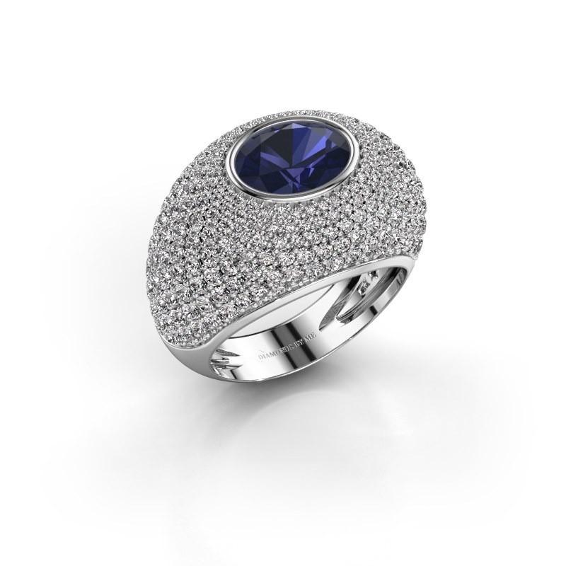 Ring Armida 585 witgoud saffier 9x7 mm