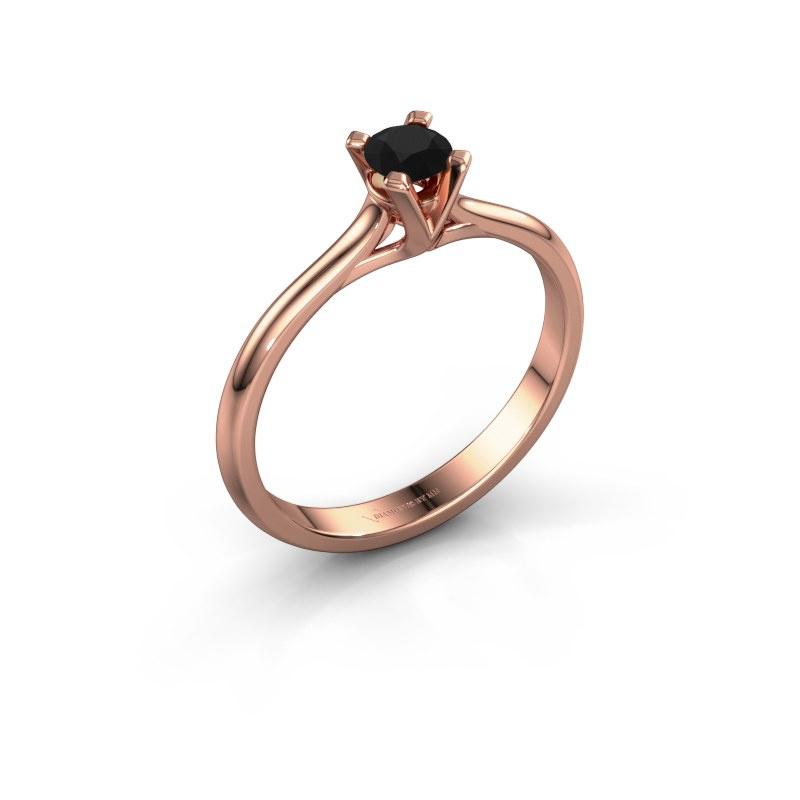 Verlovingsring Isa 1 585 rosé goud zwarte diamant 0.30 crt