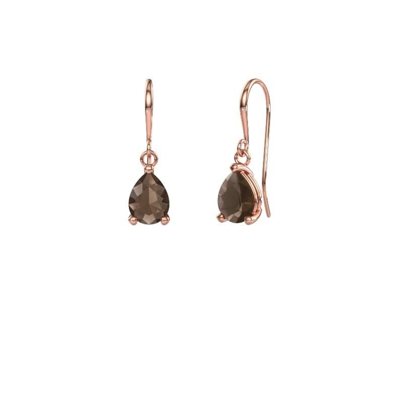Drop earrings Laurie 1 375 rose gold smokey quartz 8x6 mm