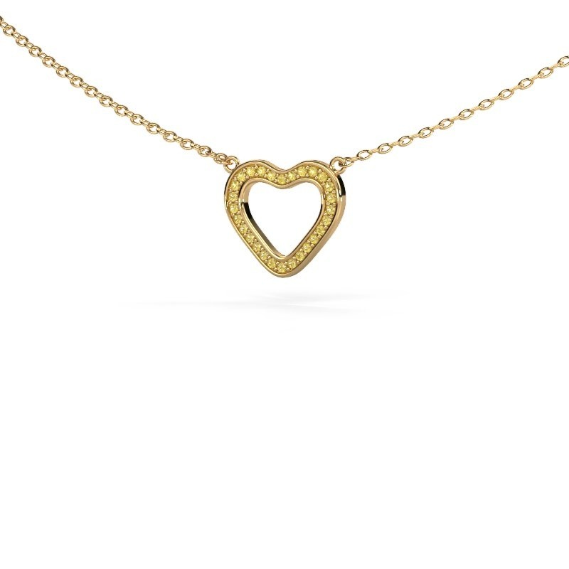 Hanger Heart 3 375 goud gele saffier 0.8 mm