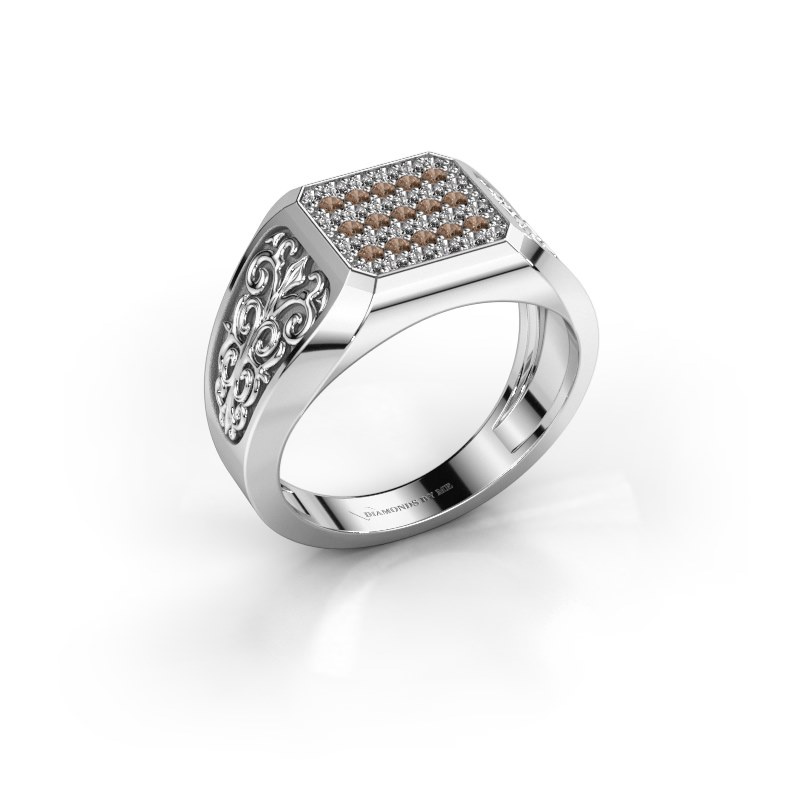 Herrenring Amir 585 Weißgold Braun Diamant 0.468 crt