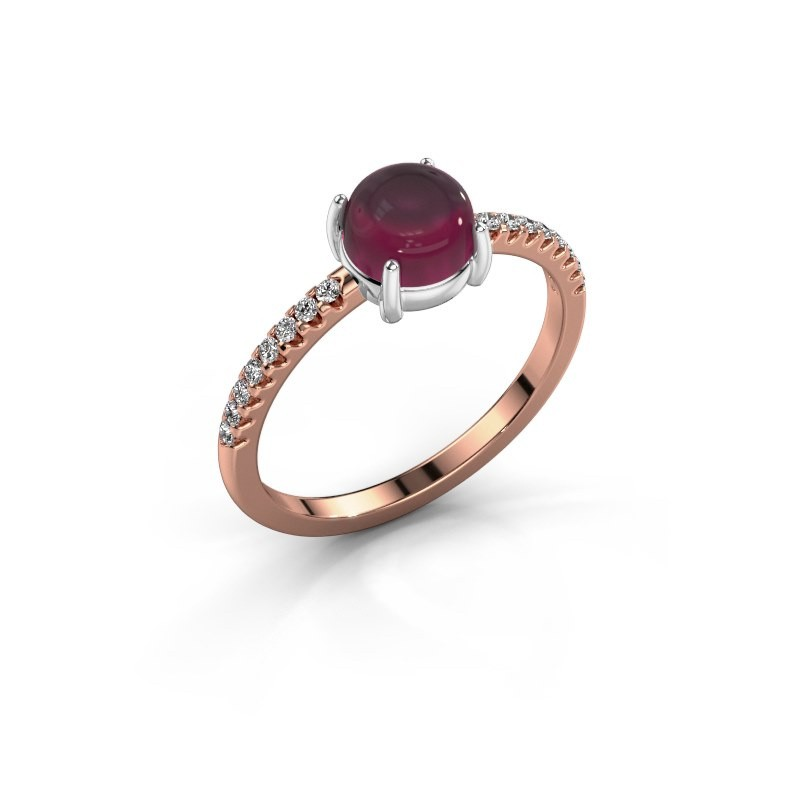 Ring Cathie 585 rosé goud rhodoliet 6 mm