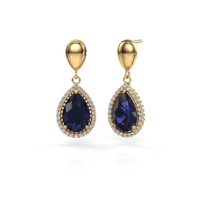 Drop earrings Tilly per 1 585 gold sapphire 12x8 mm