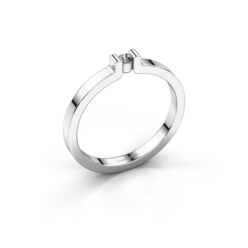 Verlovingsring Isabel 1 925 zilver diamant 0.03 crt