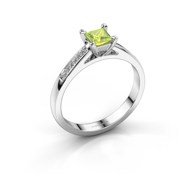 Engagement ring Nynke SQR 585 white gold peridot 4 mm