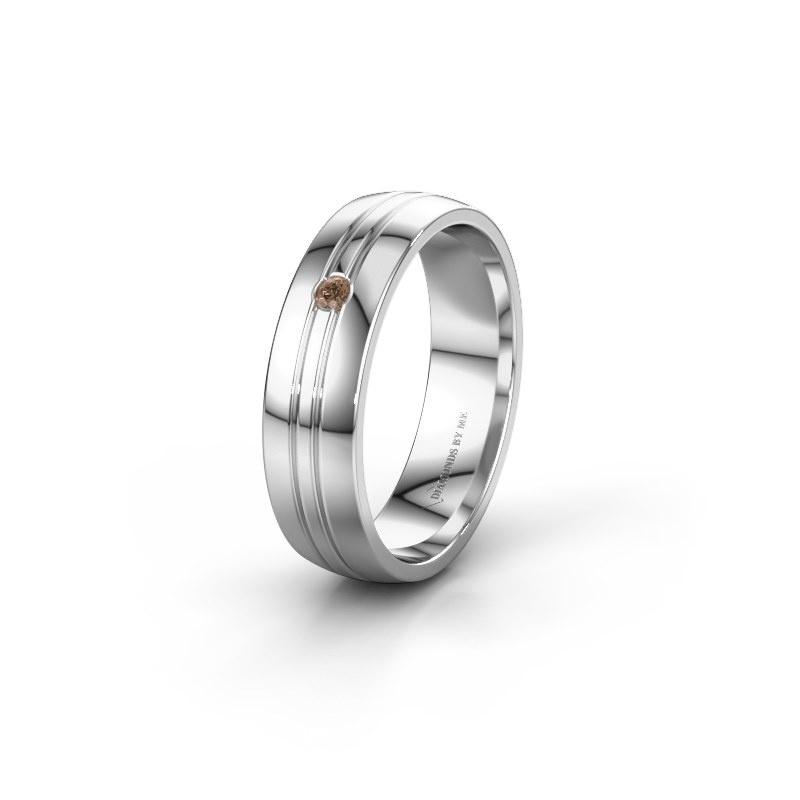 Trouwring WH0420L25X 950 platina bruine diamant ±5x1.5 mm
