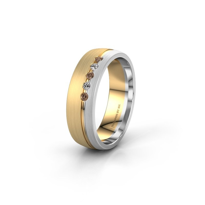 Trouwring WH0323L25AM 585 goud bruine diamant ±6x1.7 mm