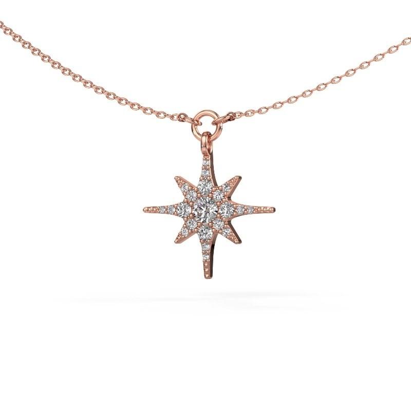 Halsketting Star 375 rosé goud zirkonia 3 mm