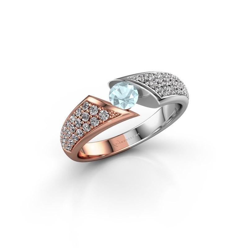 Engagement ring Hojalien 3 585 rose gold aquamarine 4.2 mm