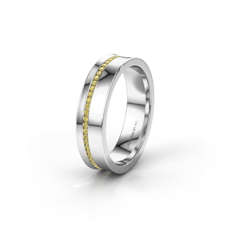 Wedding ring WH6090L55A 950 platinum yellow sapphire ±0.20x0.07 in