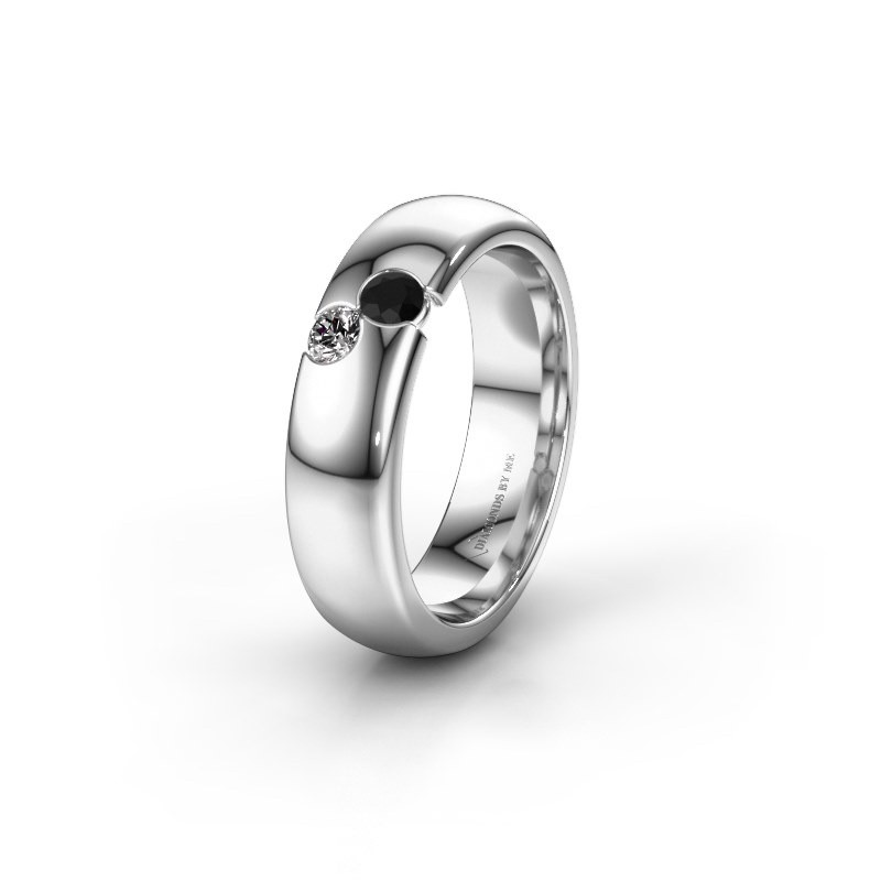 Trouwring WH1003L26C 585 witgoud zwarte diamant ±6x2.2 mm