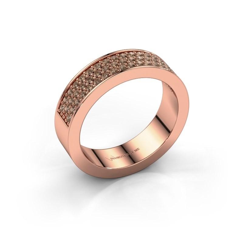 Ring Lindsey 4 375 rosé goud bruine diamant 0.53 crt