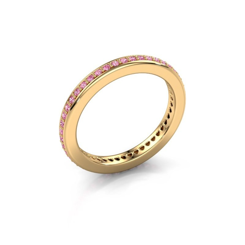 Aanschuifring Elvire 2 375 goud roze saffier 1.2 mm