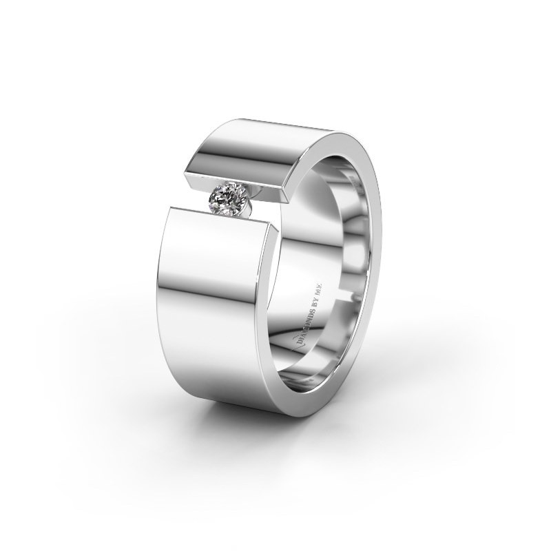 Trouwring WH0146L18BP 585 witgoud diamant ±8x2 mm