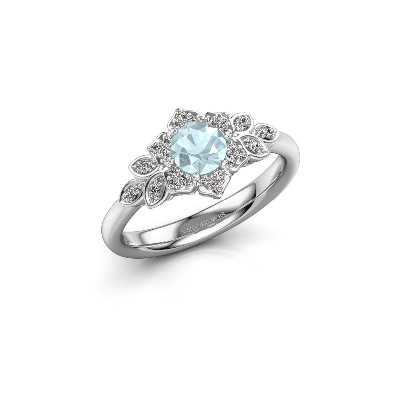 Engagement ring Tatjana 585 white gold aquamarine 5 mm