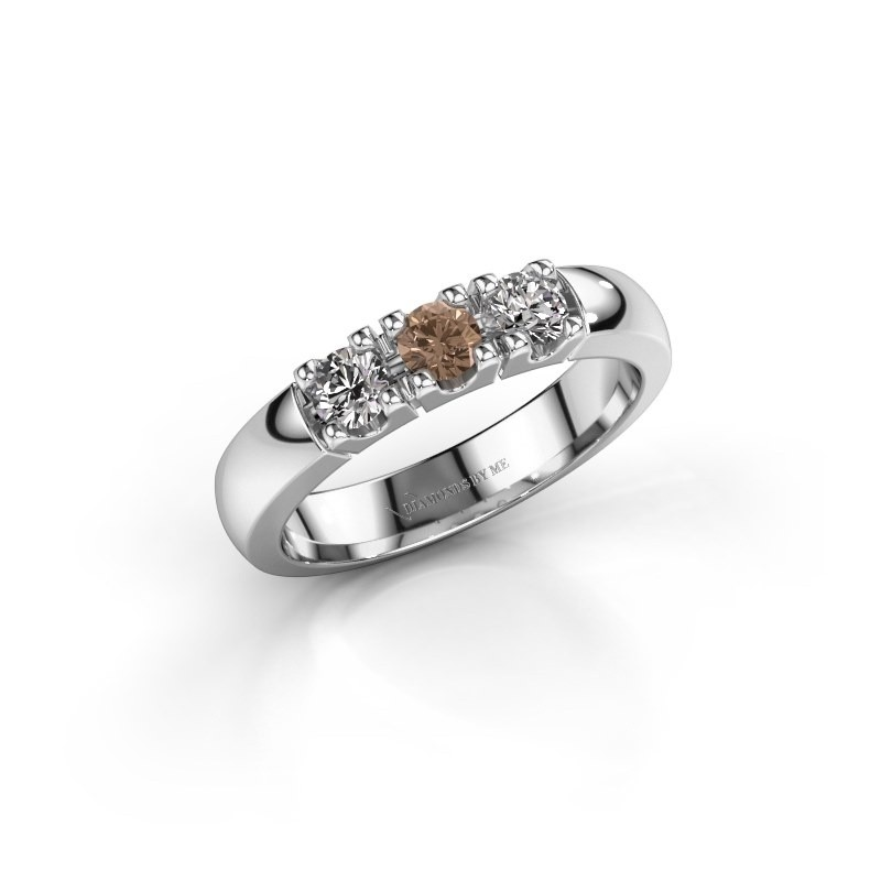 Engagement ring Rianne 3 585 white gold brown diamond 0.450 crt