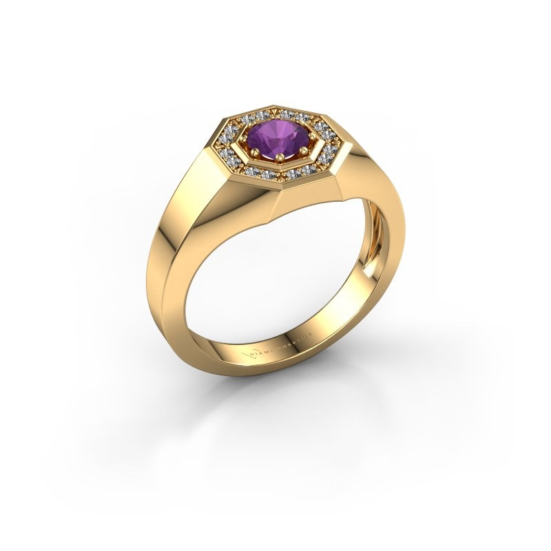 Heren ring Jaap 585 goud amethist 5 mm