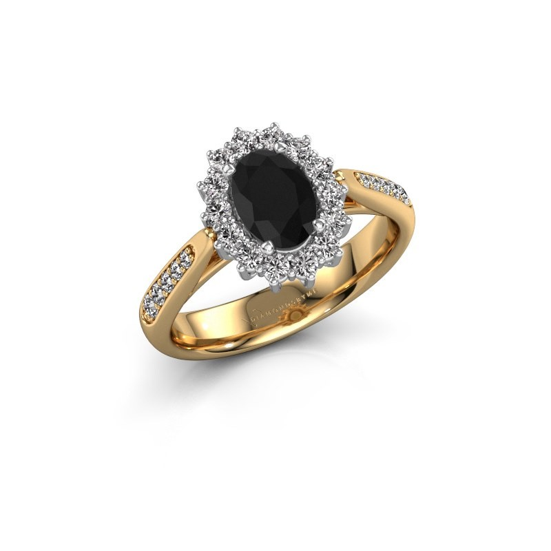 Verlovingsring Margien 2 585 goud zwarte diamant 0.96 crt