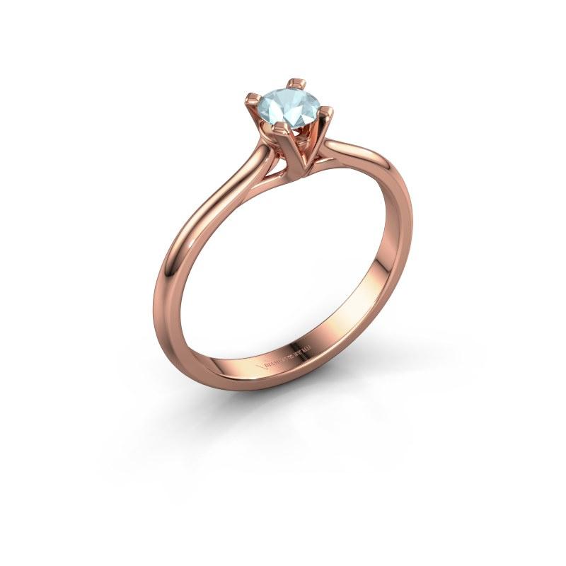 Verlovingsring Isa 1 585 rosé goud aquamarijn 4 mm