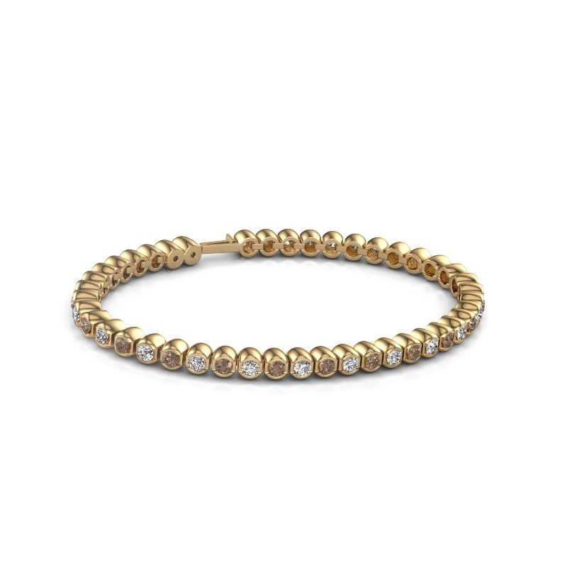 Tennisarmband Asley 375 goud bruine diamant 4.40 crt