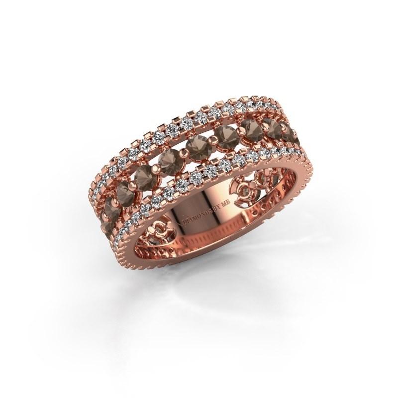 Verlovingsring Elizbeth 2 375 rosé goud rookkwarts 2.4 mm