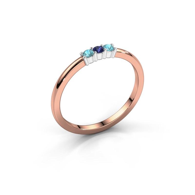 Verlovings ring Yasmin 3 585 rosé goud saffier 2 mm