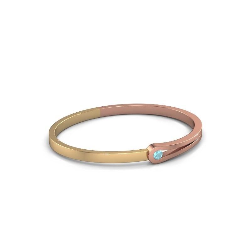 Bracelet jonc Kiki 585 or rose topaze bleue 4 mm