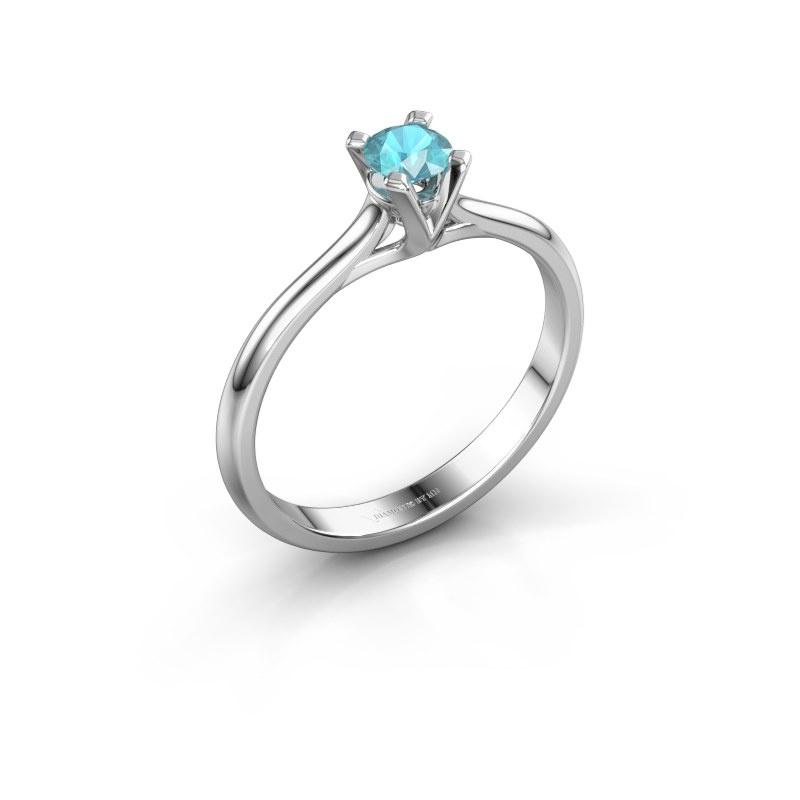 Verlovingsring Isa 1 585 witgoud blauw topaas 4 mm