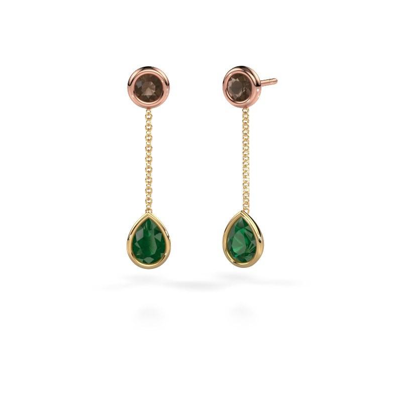 Drop earrings Ladawn 585 gold emerald 7x5 mm