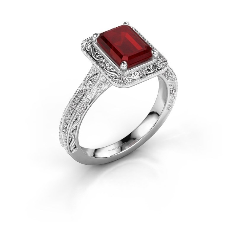 Verlovings ring Alice EME 585 witgoud robijn 7x5 mm