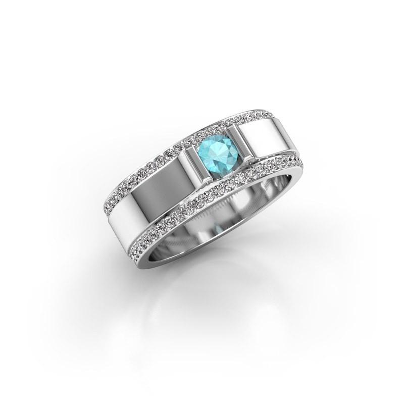 Men's ring Danillo 585 white gold blue topaz 4.2 mm