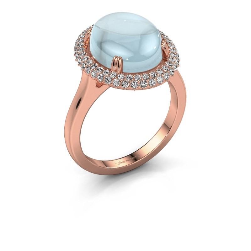 Ring Jayna 375 rosé goud aquamarijn 12x10 mm