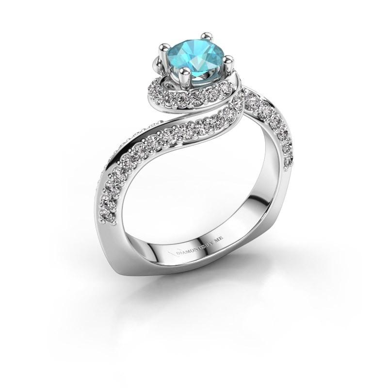 Engagement ring Sienna 950 platinum blue topaz 5 mm