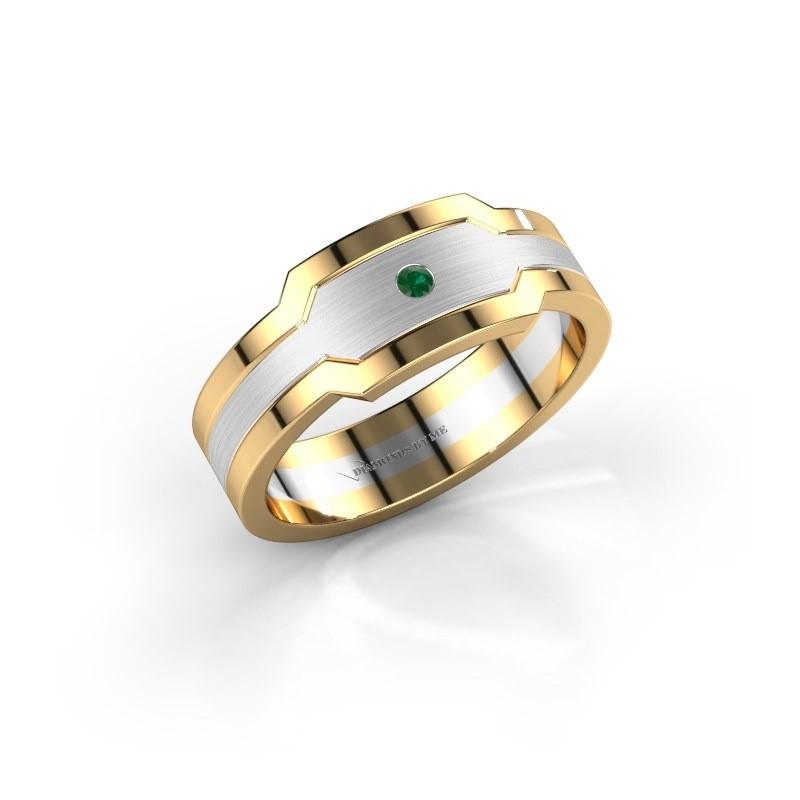 Heren ring Guido 585 witgoud smaragd 2 mm
