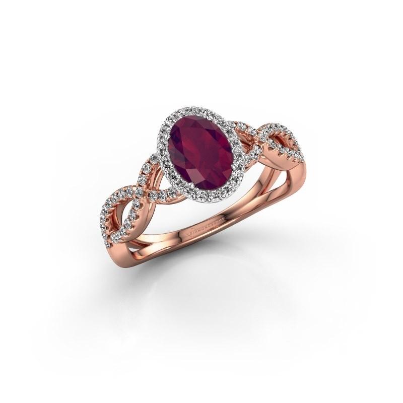 Engagement ring Dionne ovl 585 rose gold rhodolite 7x5 mm