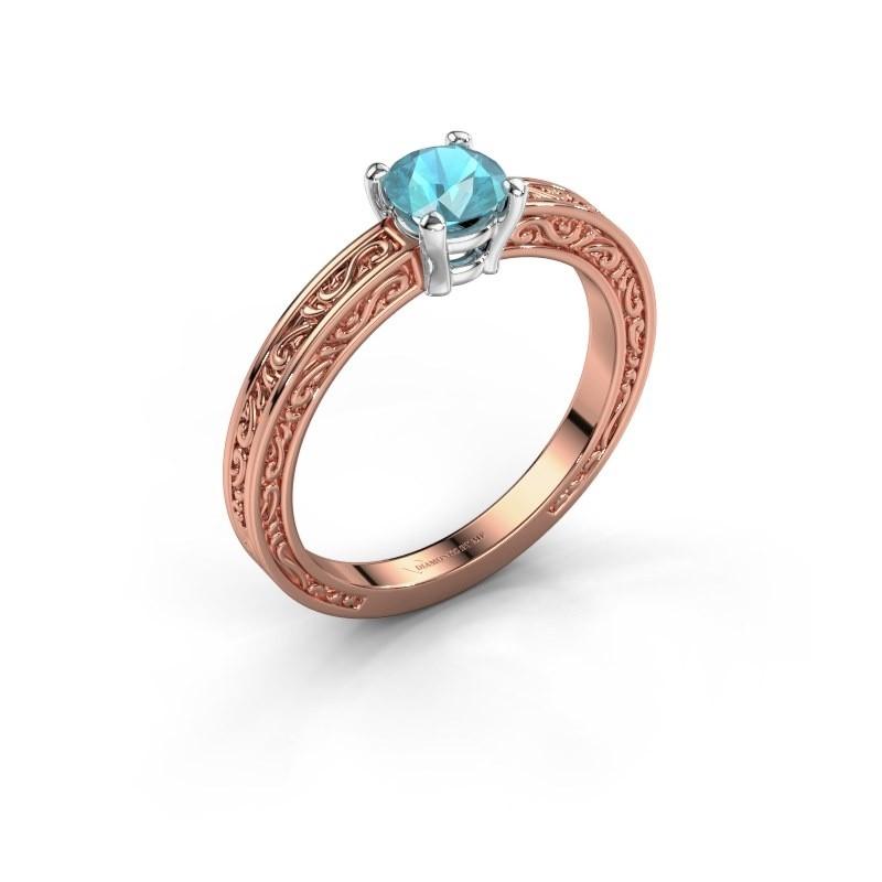 Verlovingsring Claudette 1 585 rosé goud blauw topaas 5 mm