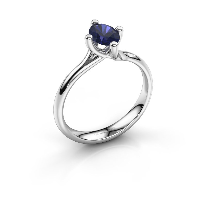Engagement ring Dewi Oval 925 silver sapphire 7x5 mm
