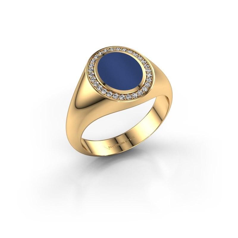 Pinkring Adam 1 585 goud lapis lazuli 10x8 mm