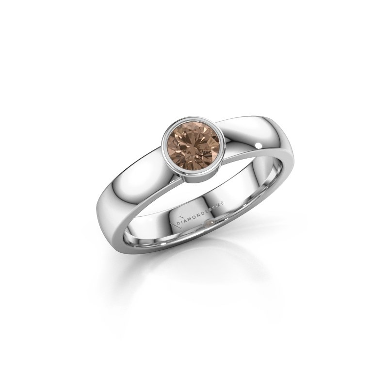 Ring Ise 1 925 zilver bruine diamant 0.40 crt
